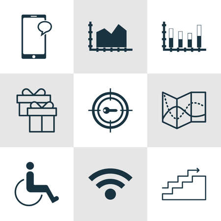 segmented: Set Of 9 Universal Editable Icons. Can Be Used For Web, Mobile And App Design. Includes Icons Such As Wireless, Accessibility, Segmented Bar Graph And More.