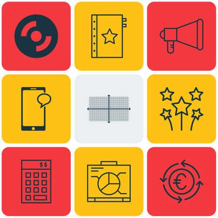 Set di 9 icone modificabili universali. Può essere utilizzato per Web, Mobile e App Design. Include icone come schema quadrato, fuochi d'artificio festosi, garanzia e altro ancora.