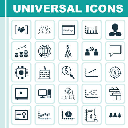 Set Of 25 Universal Editable Icons. Can Be Used For Web, Mobile And App Design. Includes Icons Such As Circle Graph, Money Recycle, Coins Growth And More. Illustration
