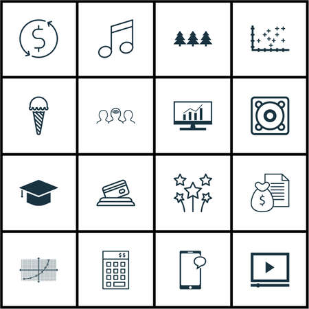 Set Of 16 Universal Editable Icons. Can Be Used For Web, Mobile And App Design. Includes Icons Such As Money Trasnfer, Coaching, Music And More.