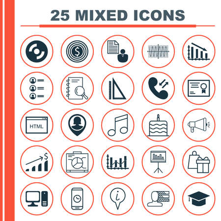 www tasty: Set Of 25 Universal Editable Icons. Can Be Used For Web, Mobile And App Design. Includes Icons Such As Business Goal, Certificate, Info Pointer And More.