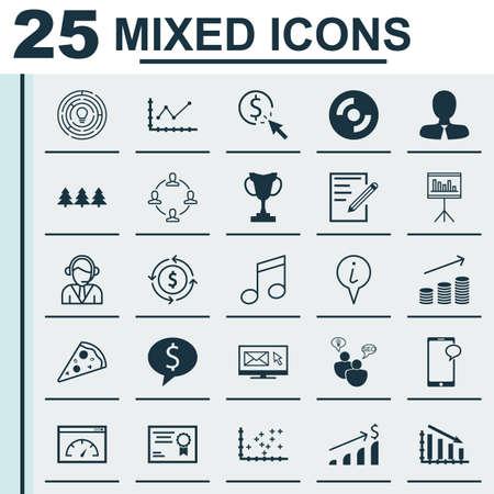 Set di 25 icone universali modificabili. Può essere usato per Web, Mobile e App Design. Include icone come operatore, Carta, Torneo e altro ancora.