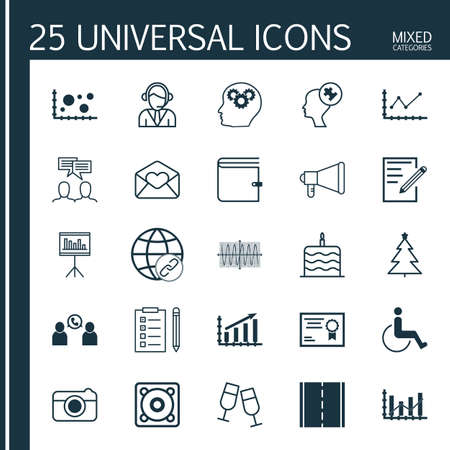 face with headset: Set Of 25 Universal Editable Icons. Can Be Used For Web, Mobile And App Design. Includes Icons Such As Raise Diagram, Certificate, Reminder And More. Illustration