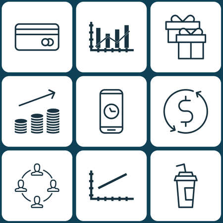 transact: Set Of 9 Universal Editable Icons. Can Be Used For Web, Mobile And App Design. Includes Icons Such As Raise Diagram, Line Graph, Call Duration And More. Illustration