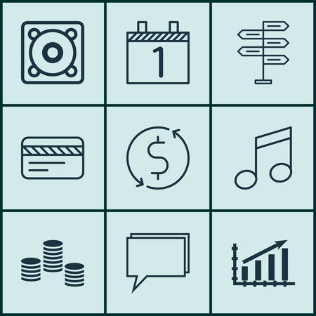 crotchets: Set Of 9 Universal Editable Icons. Can Be Used For Web, Mobile And App Design. Includes Icons Such As Money Trasnfer, Agenda, Crotchets And More. Illustration