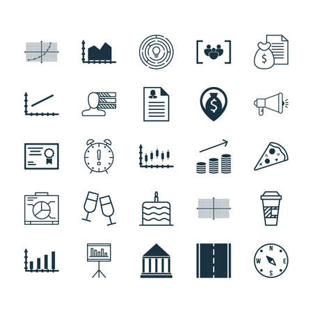 burning money: Set Of 25 Universal Editable Icons. Can Be Used For Web, Mobile And App Design. Includes Icons Such As Champagne Glasses, Coins Growth, Sliced Pizza And More. Illustration