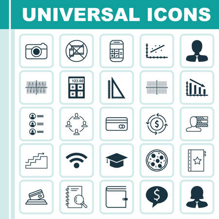 transact: Set Of 25 Universal Editable Icons. Can Be Used For Web, Mobile And App Design. Includes Icons Such As Analysis, Personal Skills, Fail Graph And More. Illustration