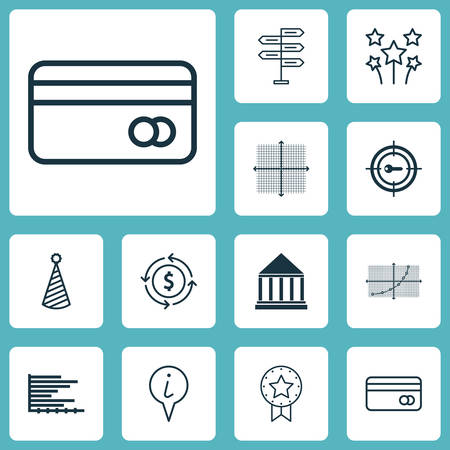 Set Of 12 Universal Editable Icons. Can Be Used For Web, Mobile And App Design. Includes Icons Such As Keyword Marketing, Money Recycle, Graphical Grid And More. Illustration