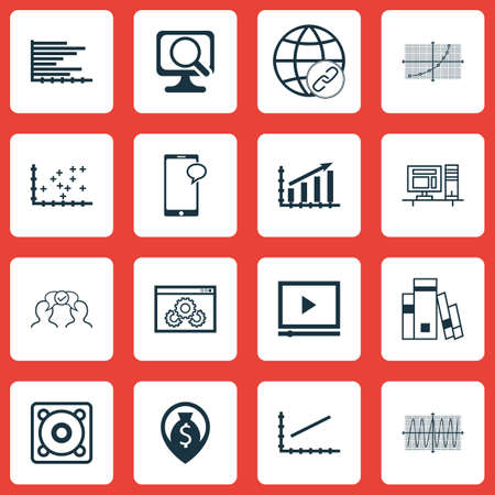 Set Of 16 Universal Editable Icons. Can Be Used For Web, Mobile And App Design. Includes Icons Such As Laptop, Cosinus Diagram, Video Player And More. Illustration