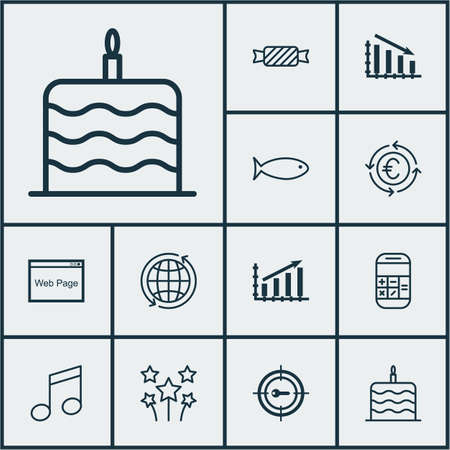 swimming candles: Set Of 12 Universal Editable Icons. Can Be Used For Web, Mobile And App Design. Includes Icons Such As Festive Fireworks, Profit Graph, Calculation And More. Illustration