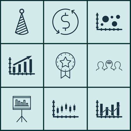 Set Of 9 Universal Editable Icons. Can Be Used For Web, Mobile And App Design. Includes Icons Such As Profit Graph, Stock Market, Coaching And More.