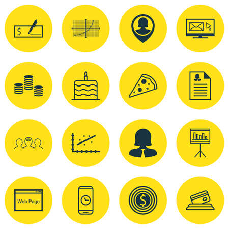 pay raise: Set Of 16 Universal Editable Icons. Can Be Used For Web, Mobile And App Design. Includes Icons Such As Newsletter, Celebration Cake, Analytics And More.