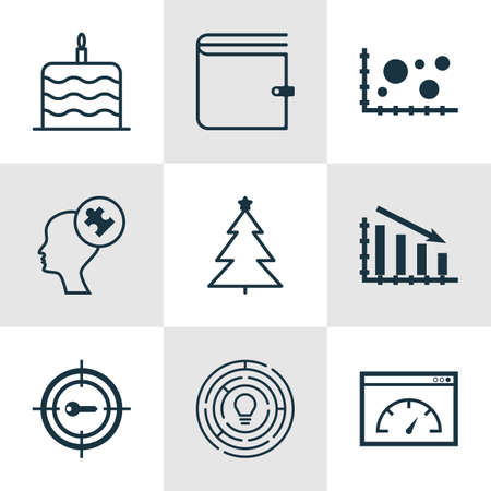 burning money: Set Of 9 Universal Editable Icons. Can Be Used For Web, Mobile And App Design. Includes Icons Such As Celebration Cake, Human Mind, Fail Graph And More. Illustration