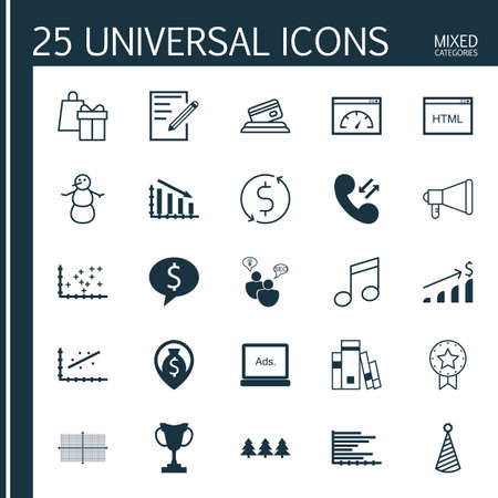 crotchets: Set Of 25 Universal Editable Icons. Can Be Used For Web, Mobile And App Design. Includes Icons Such As Winter, Present Badge, Birthday Hat And More. Illustration