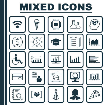 sequence: Set Of 25 Universal Editable Icons. Can Be Used For Web, Mobile And App Design. Includes Icons Such As Frozen Food, Sequence Graphics, Birthday Hat And More. Illustration