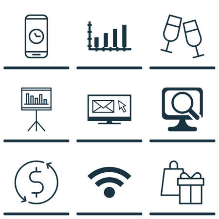 Set Of 9 Universal Editable Icons. Can Be Used For Web, Mobile And App Design. Includes Icons Such As Presentation, Laptop, Money Trasnfer And More.