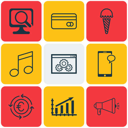 crotchets: Set Of 9 Universal Editable Icons. Can Be Used For Web, Mobile And App Design. Includes Icons Such As Laptop, Website Performance, Media Campaign And More.