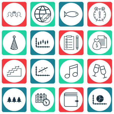 Set Of 16 Universal Editable Icons. Can Be Used For Web, Mobile And App Design. Includes Icons Such As Wallet, Crotchets, Coaching And More. Illustration