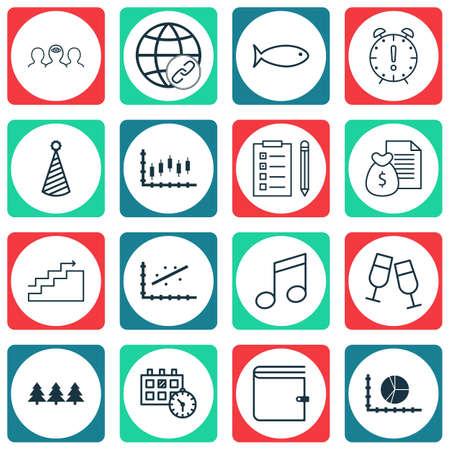 Ensemble de 16 icônes modifiables universelles. Peut être utilisé pour le Web, Mobile et App Design. Comprend des icônes telles que le portefeuille, les crochets, le coaching, etc.