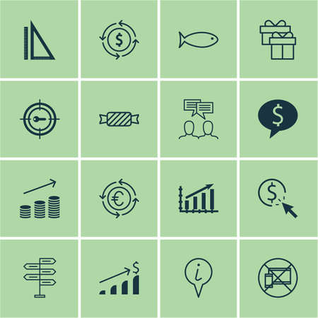 pay raise: Set Of 16 Universal Editable Icons. Can Be Used For Web, Mobile And App Design. Includes Icons Such As Keyword Marketing, Sweet, Forbidden Mobile And More. Illustration