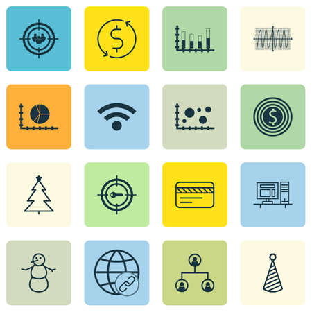 Set Of 16 Universal Editable Icons. Can Be Used For Web, Mobile And App Design. Includes Icons Such As Wireless, Winter, Business Goal And More. Illustration