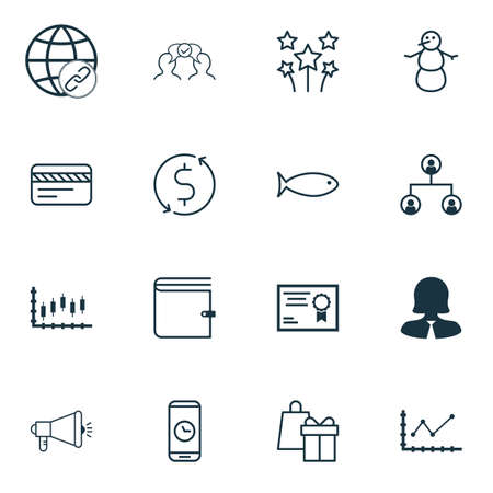 Set Of 16 Universal Editable Icons. Can Be Used For Web, Mobile And App Design. Includes Icons Such As Shopping, Stock Market, Connectivity And More. Vector Illustration