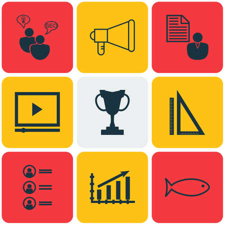 profile measurement: Set Of 9 Universal Editable Icons. Can Be Used For Web, Mobile And App Design. Includes Icons Such As Measurement, SEO Brainstorm, Tournament And More.