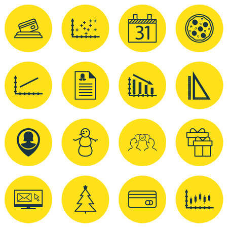 transact: Set Of 16 Universal Editable Icons. Can Be Used For Web, Mobile And App Design. Includes Icons Such As Pizza Meal, Decorated Tree, Present And More. Illustration