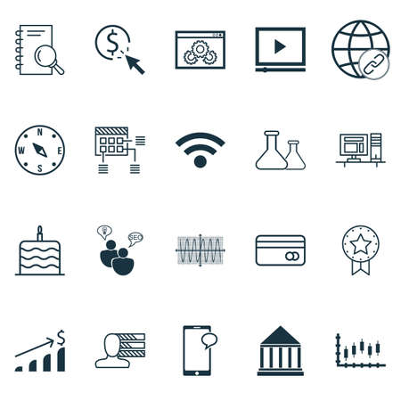 Set Of 20 Universal Editable Icons. Can Be Used For Web, Mobile And App Design. Includes Icons Such As Computer, SEO Brainstorm, Successful Investment And More.