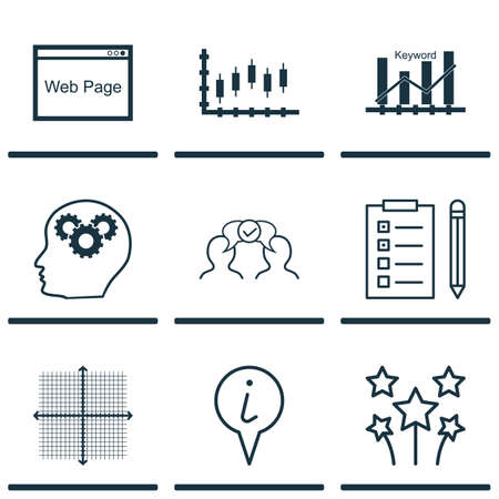 graphical chart: Set Of 9 Universal Editable Icons. Can Be Used For Web, Mobile And App Design. Includes Icons Such As Brain Process, Stock Market, Info Pointer And More.