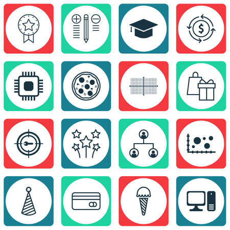 transact: Set Of 16 Universal Editable Icons. Can Be Used For Web, Mobile And App Design. Includes Icons Such As Pizza Meal, Keyword Marketing, Decision Making And More.