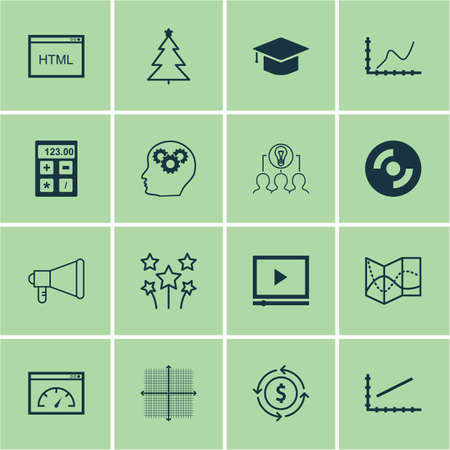 Set Of 16 Universal Editable Icons. Can Be Used For Web, Mobile And App Design. Includes Icons Such As Road Map, Graphical Grid, Financial And More.