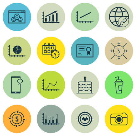 segmented: Set Of 16 Universal Editable Icons. Can Be Used For Web, Mobile And App Design. Includes Icons Such As Segmented Bar Graph, Achievement Graph, Website Performance And More.