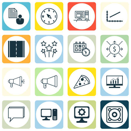 appointment: Set Of 16 Universal Editable Icons. Can Be Used For Web, Mobile And App Design. Includes Icons Such As Conference, Appointment, Media Campaign And More.