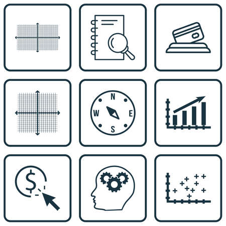 Set Of 9 Universal Editable Icons. Can Be Used For Web, Mobile And App Design. Includes Icons Such As Graphical Grid, Square Diagram, PPC And More.