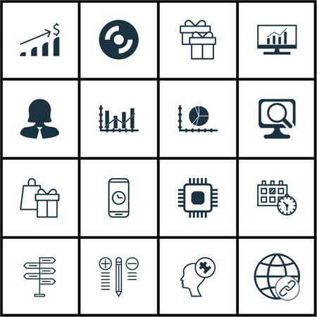 Set di 16 icone modificabili universali. Può essere utilizzato per Web, Mobile e App Design. Include icone come investimento di successo, appuntamento, laptop e altro ancora.