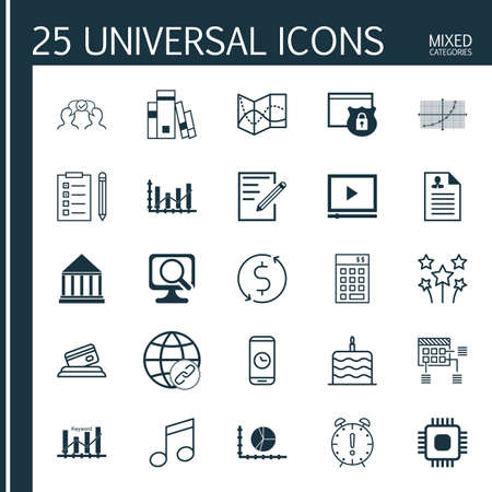 crotchets: Set Of 25 Universal Editable Icons. Can Be Used For Web, Mobile And App Design. Includes Icons Such As Festive Fireworks, Crotchets, Video Player And More. Illustration