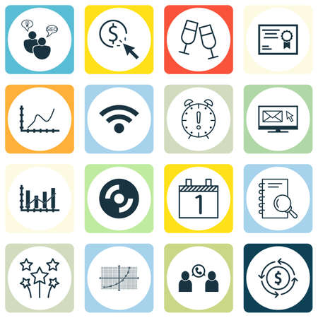 raise: Set Of 16 Universal Editable Icons. Can Be Used For Web, Mobile And App Design. Includes Icons Such As Raise Diagram, Certificate, Champagne Glasses And More.