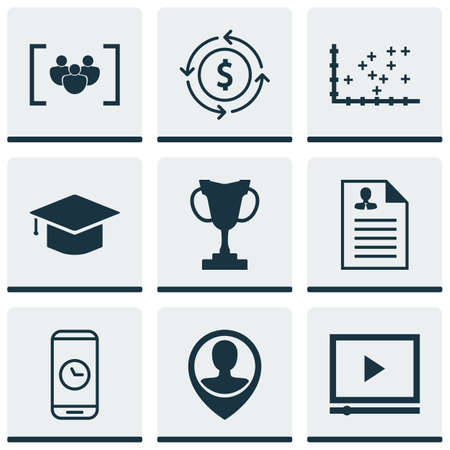 academic touch: Set Of 9 Universal Editable Icons. Can Be Used For Web, Mobile And App Design. Includes Icons Such As Tournament, Graduation, Employee Location And More.