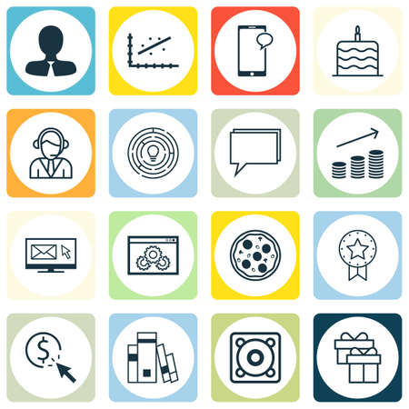 cuisine entertainment: Set Of 16 Universal Editable Icons. Can Be Used For Web, Mobile And App Design. Includes Icons Such As Newsletter, Music, Innovation And More. Illustration