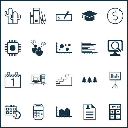 checkbook: Set Of 20 Universal Editable Icons. Can Be Used For Web, Mobile And App Design. Includes Icons Such As Bank Payment, Presentation, Calculation And More. Illustration