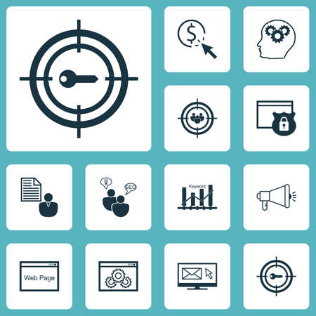 ppc: Set Of Marketing Icons On PPC, Keyword Optimisation And SEO Brainstorm Topics. Editable Vector Illustration. Includes Per, Brief, Marketing And More Vector Icons.