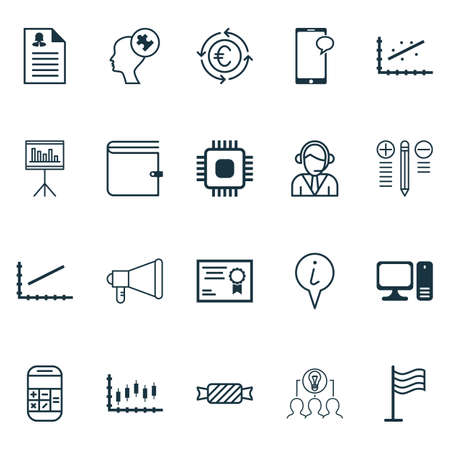 mind set: Set Of 20 Universal Editable Icons. Can Be Used For Web, Mobile And App Design. Includes Icons Such As Presentation, Analytics, Human Mind And More. Illustration