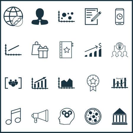 Set Of 20 Universal éditables Icons. Peut être utilisé pour le Web, Mobile Et App Design. Comprend des icônes telles que la connectivité, Questionnaire, Profit Graph And More.