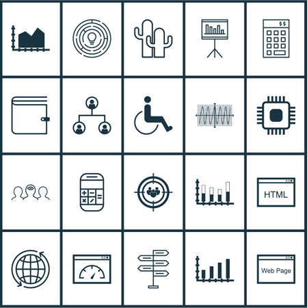 Set Of 20 Universal Editable Icons. Can Be Used For Web, Mobile And App Design. Includes Icons Such As Cosinus Diagram, Presentation, Coaching And More.