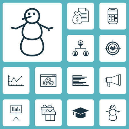 advertising column: Set Of 12 Universal Editable Icons. Can Be Used For Web, Mobile And App Design. Includes Icons Such As Focus Group, Tree Structure, Report And More. Illustration