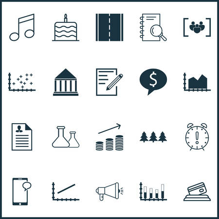crotchets: Set Of 20 Universal Editable Icons. Can Be Used For Web, Mobile And App Design. Includes Icons Such As Segmented Bar Graph, Photo Camera, Holiday Ornament And More.
