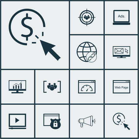 website security: Set Of SEO Icons On Website, Security And Market Research Topics. Editable Vector Illustration. Includes Email, Community, Dynamics And More Vector Icons.