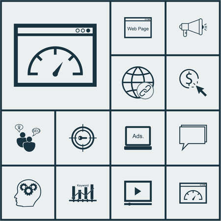 ppc: Set Of Advertising Icons On Website, PPC And Conference Topics. Editable Vector Illustration. Includes Community, Conference, Plan And More Vector Icons.