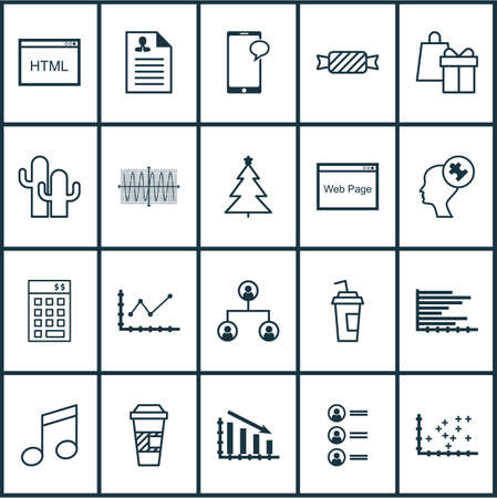 crotchets: Set Of 20 Universal Editable Icons. Can Be Used For Web, Mobile And App Design. Includes Icons Such As Sinus Graph, Tree Structure, Messaging And More. Illustration